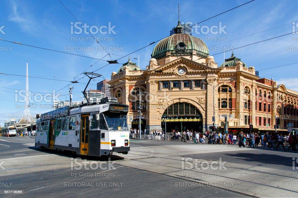 Tram at Flinders Street Station. stock photo