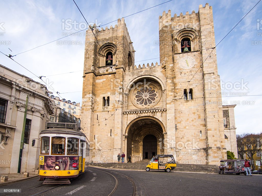 Tram at Lisbon Cathedral stock photo