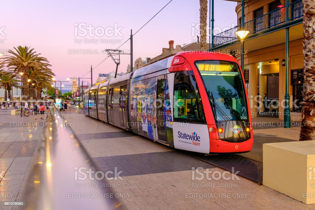 Tram at Moseley square in Glenelg royalty-free stock photo