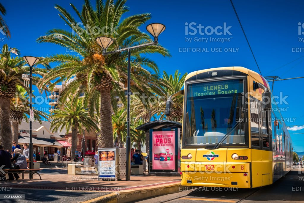 Tram at Moseley Square in Glenelg, South Australia stock photo