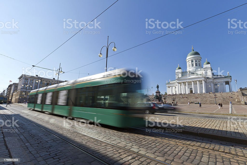 Tram at the Helsinki Senate square royalty-free stock photo