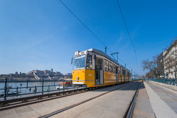 Tram by the Danube River in Budapest, Hungary stock photo