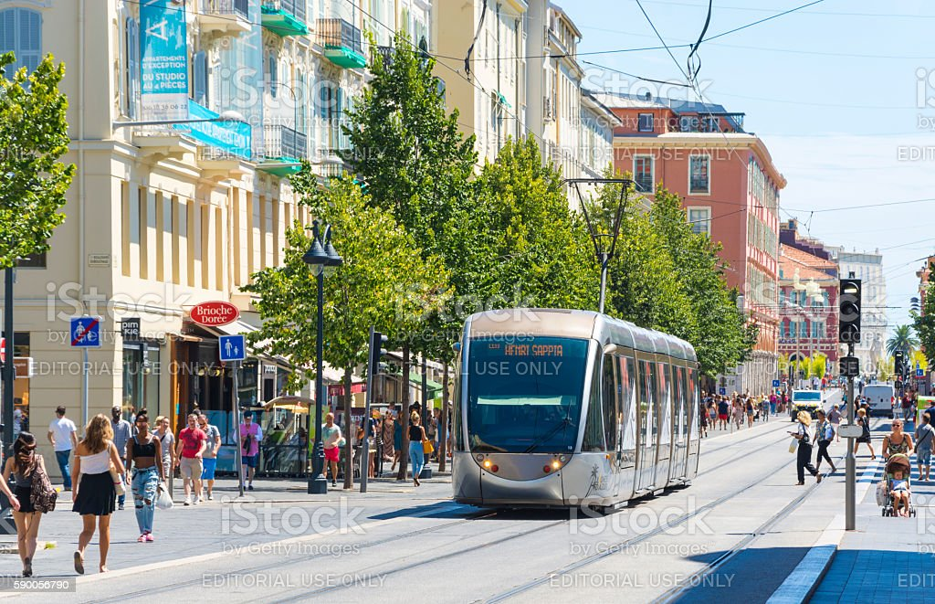Tram city centre of Nice, France stock photo