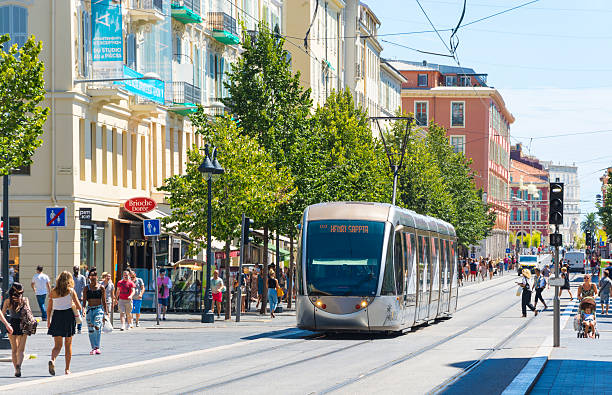 Tram city centre of Nice, France stock photo
