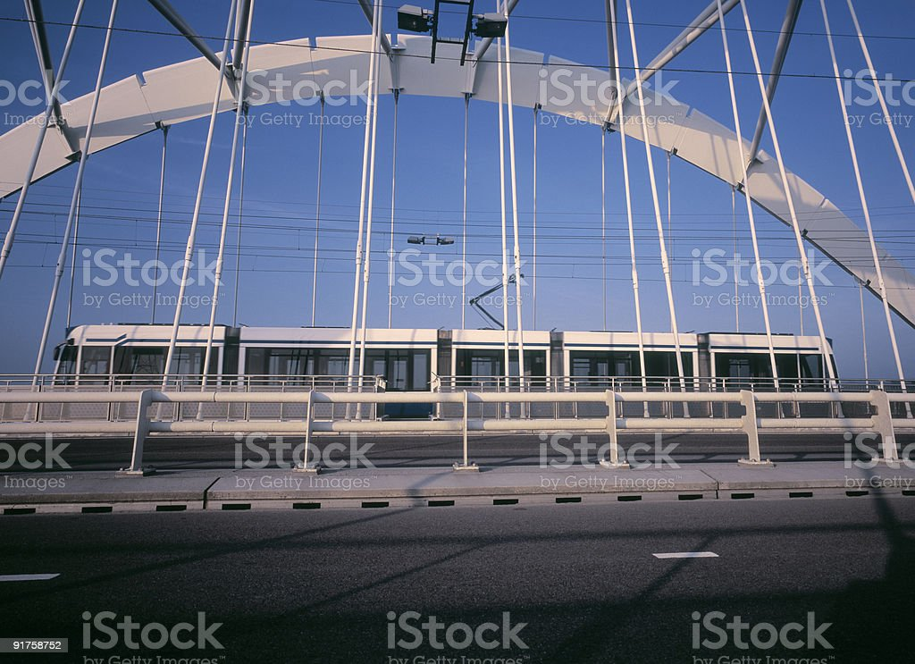 Tram Crossing Bridge stock photo