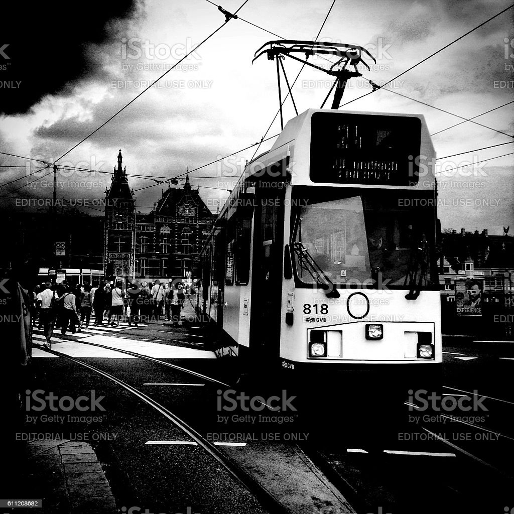 Tram driving in Amsterdam stock photo