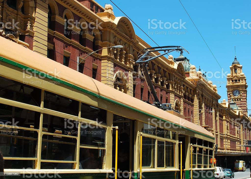 Tram & Flinders St royalty-free stock photo