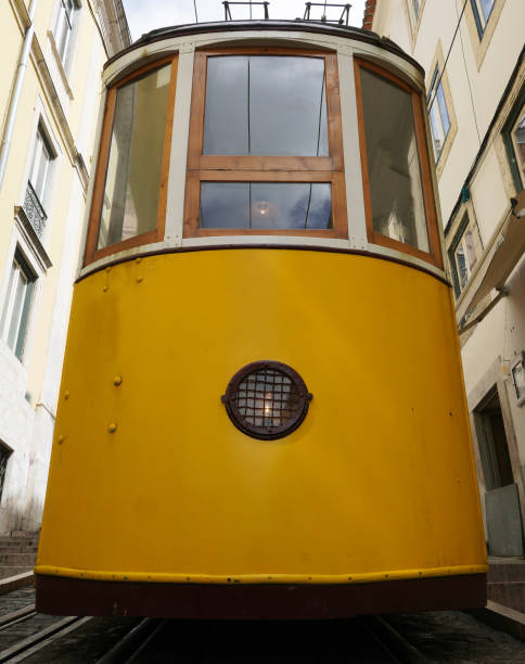 Tram from a low angle. stock photo
