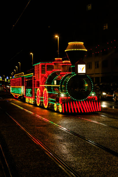 Tram illuminations to look like a steam train in Blackpool, Lancs, UK stock photo