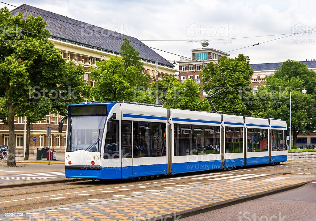 Tram in Amsterdam stock photo