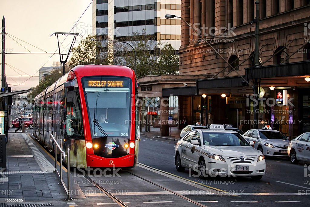 Tram in downtown Adelaide, Australia stock photo