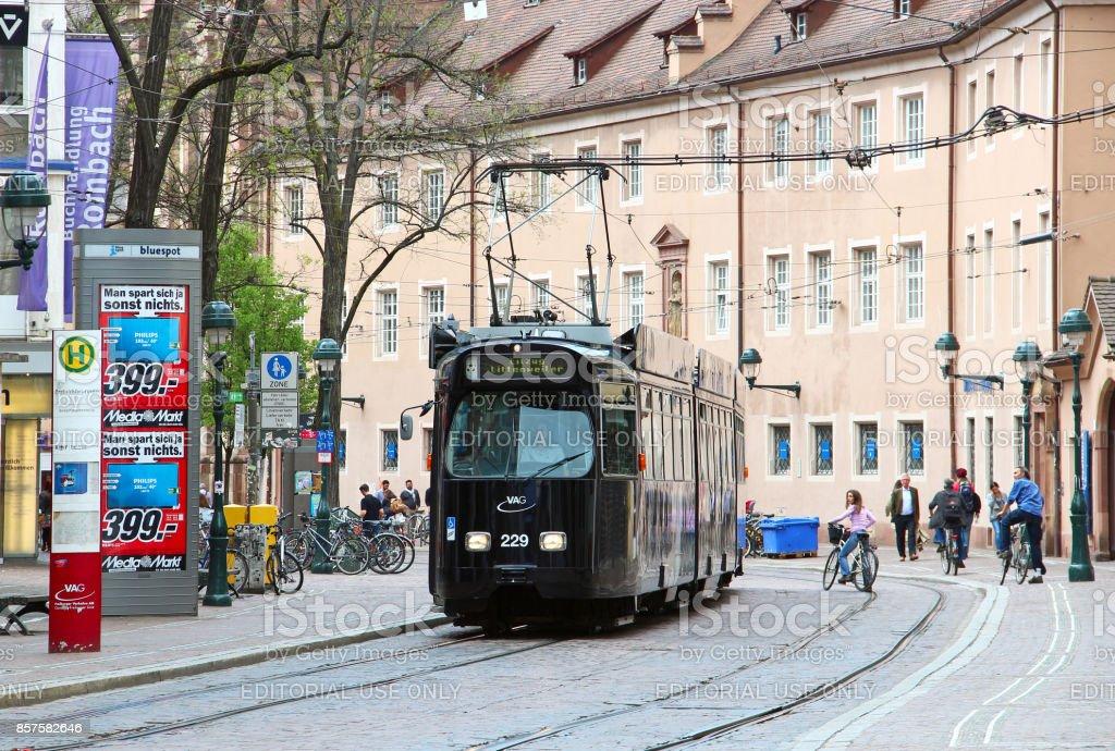 Tram in dowtown Freiburg im Breisgau, Germany stock photo