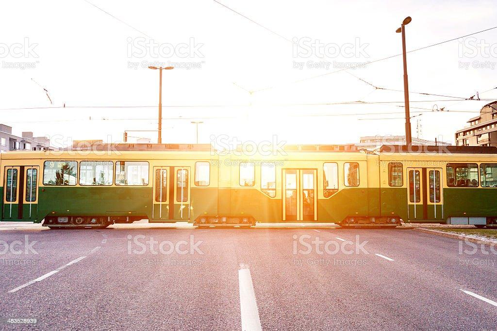 Tram in Helsinki road at dusk stock photo
