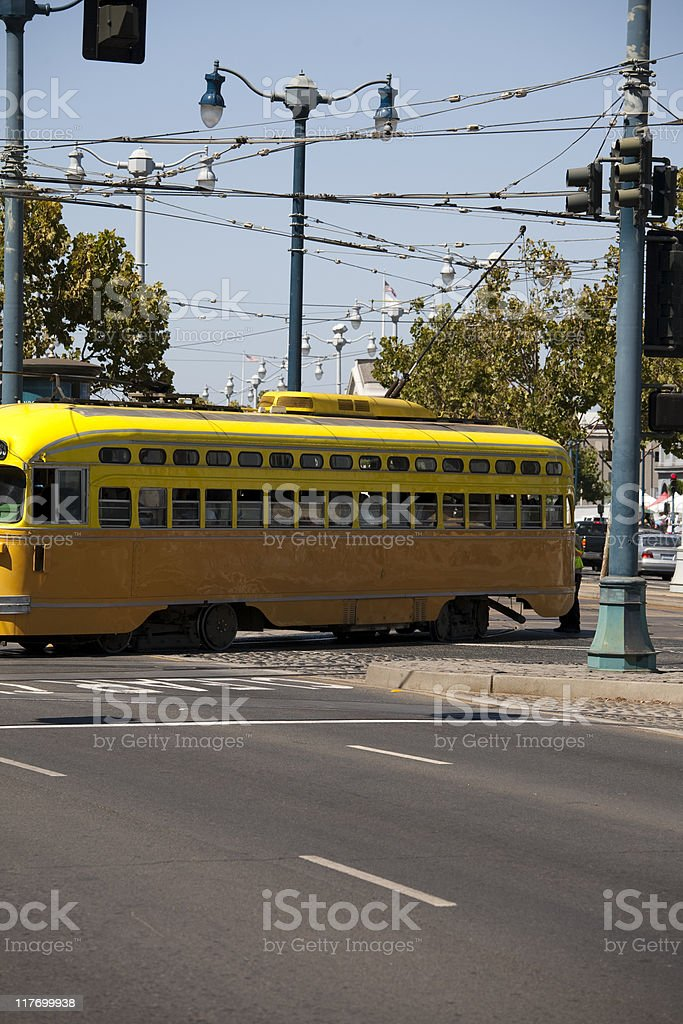 Tram in intersection royalty-free stock photo