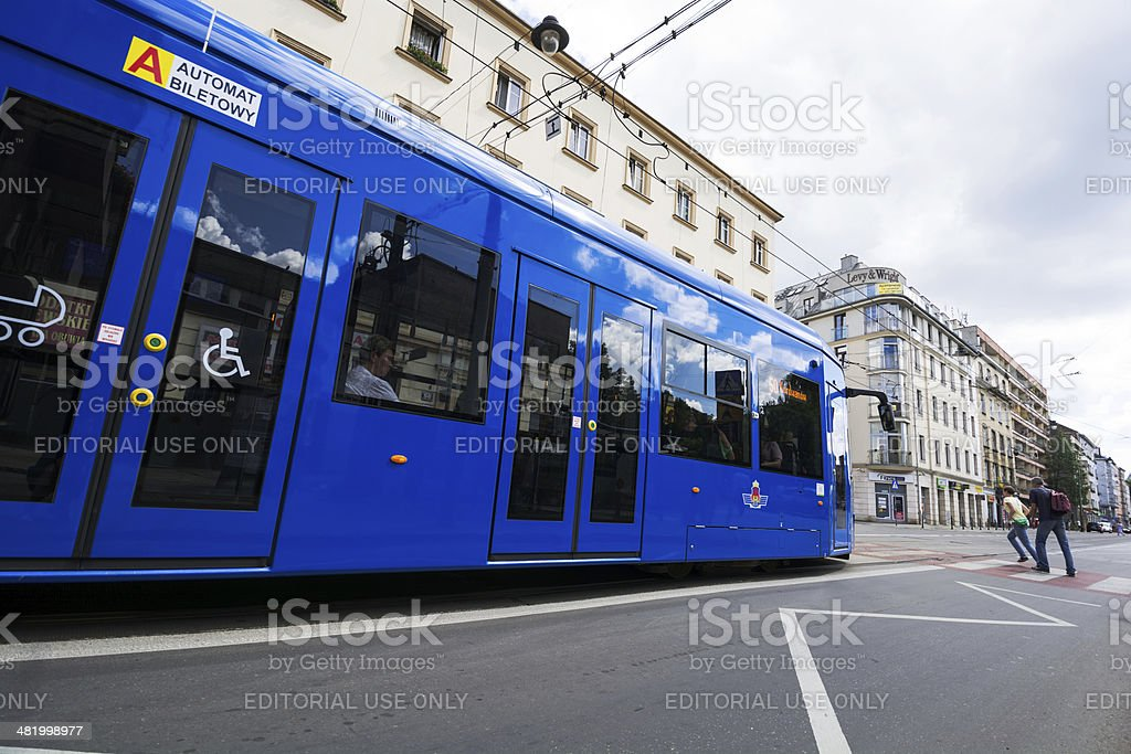 Tram in Krakow, Poland royalty-free stock photo