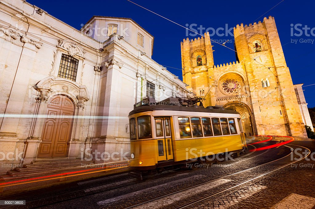 Tram in Lisbon at night stock photo