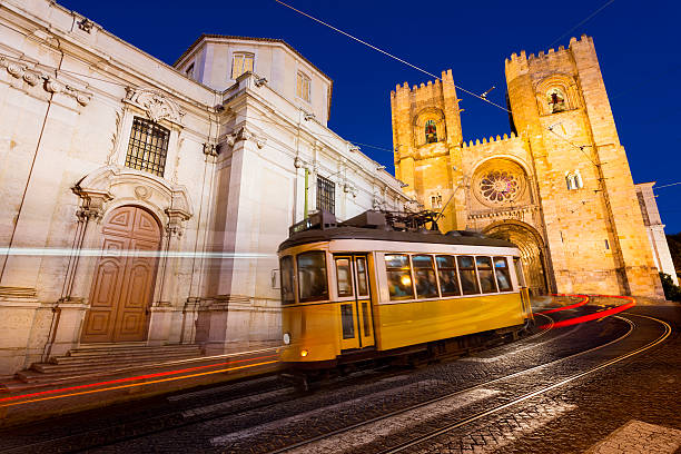 Tram in Lisbon at night stock photo
