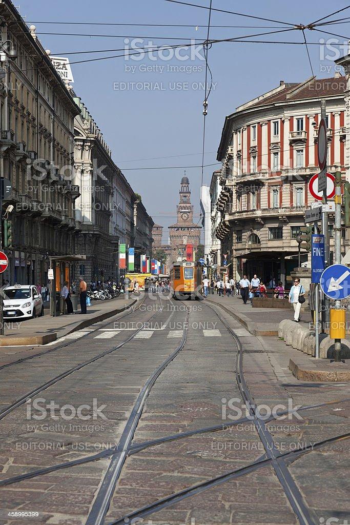 Tram in Milan, Italy stock photo