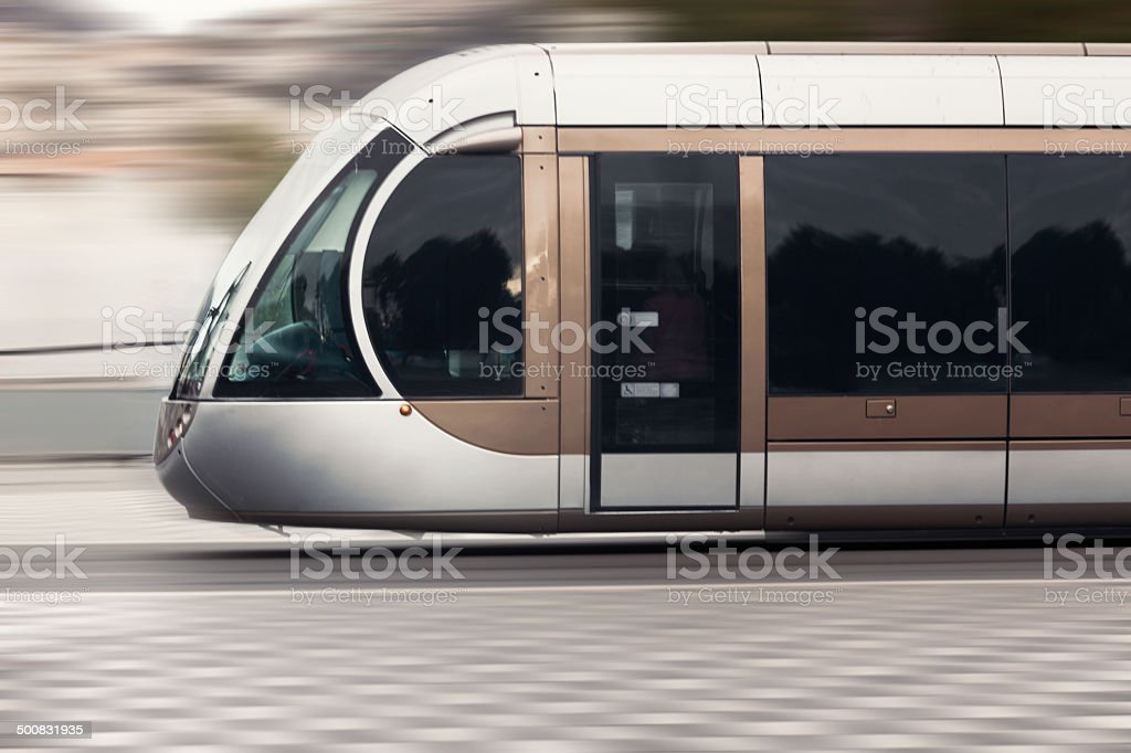 Tram in motion stock photo