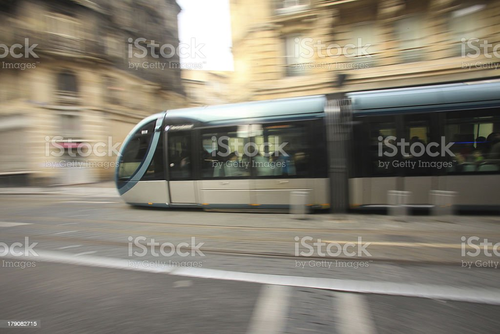 tram in movement stock photo