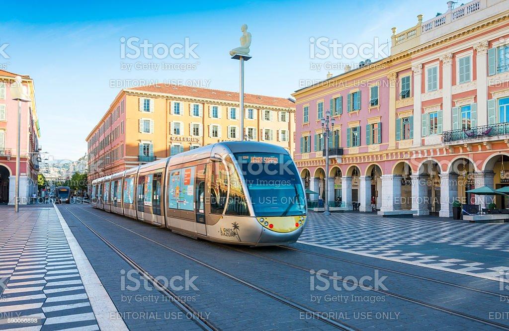 Tram in Place Masséna, Nice, France stock photo