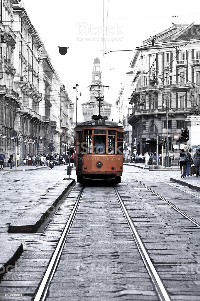 Tram In The City Of Milan royalty-free stock photo