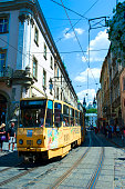 Lviv, UKRAINE, July 18, 2017: Yellow tram on the central square of the city of Lviv in Western Ukraine