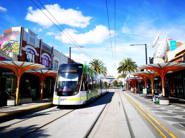 Tram leaving Acland Street Station in St Kilda - Melbourne stock photo