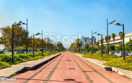 1166703050 istock photo Tram line under construction near the City of Arts and 627540650