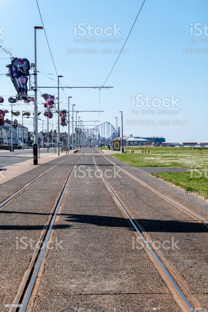 Tram lines along the seafront in Blackpool stock photo