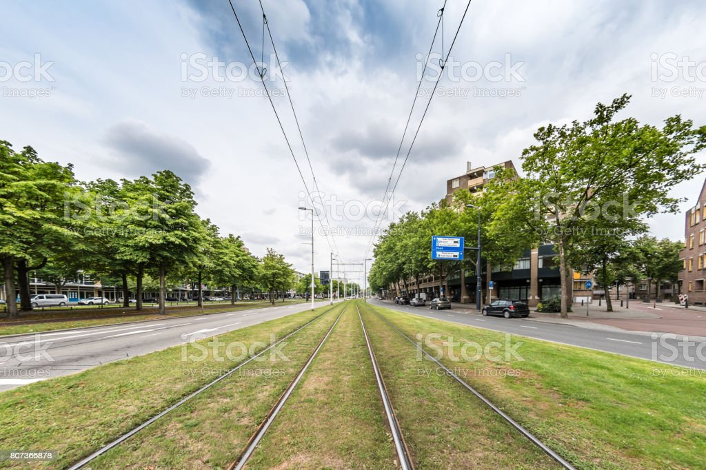 Tram lines in central Rotterdam stock photo
