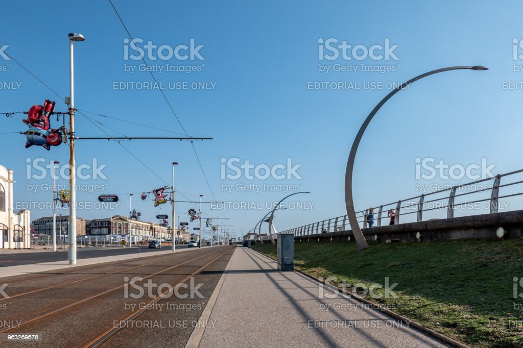 Tram lines in the centre of Blackpool stock photo