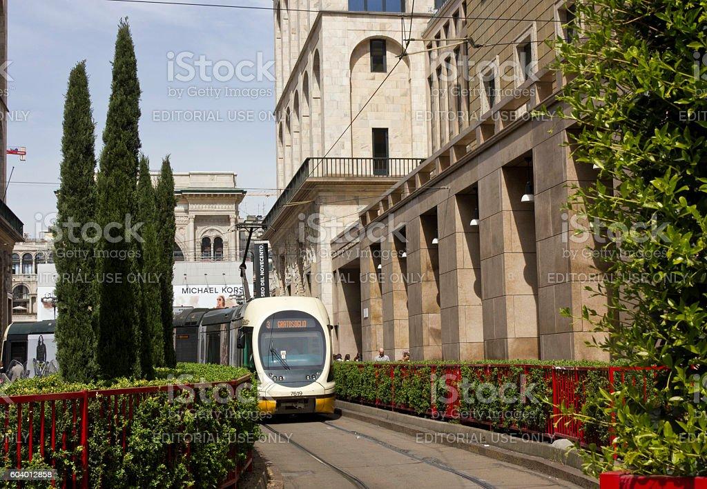 Tram number 3 to Gratosoglio in Milan stock photo