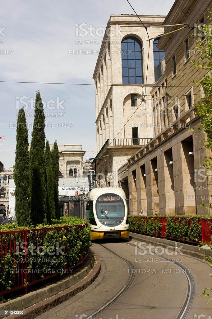 Tram number in Milan stock photo
