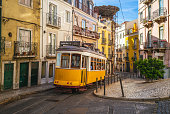 tram on line 28 in lisbon, portugal