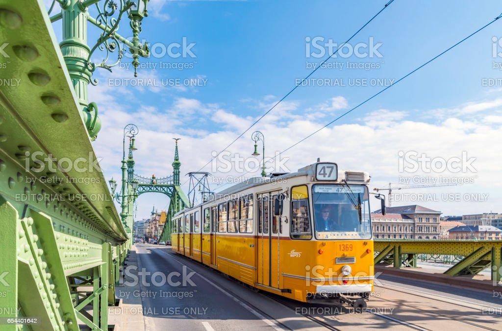 Tram on a bridge in Budapest, Hungary stock photo