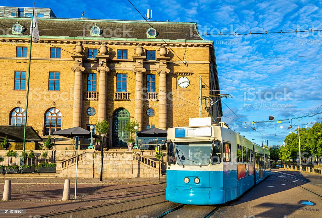 Tram on a street of Gothenburg - Sweden stock photo