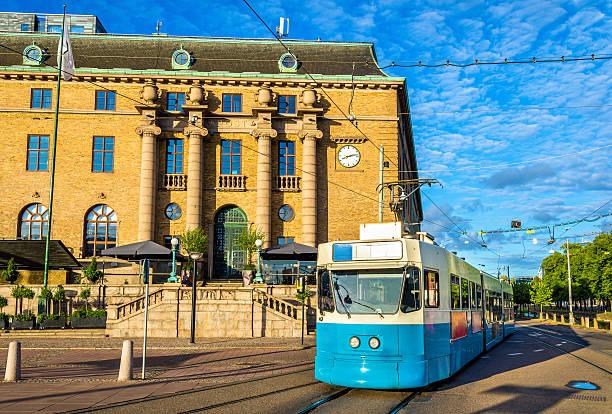Tram on a street of Gothenburg - Sweden stock photo