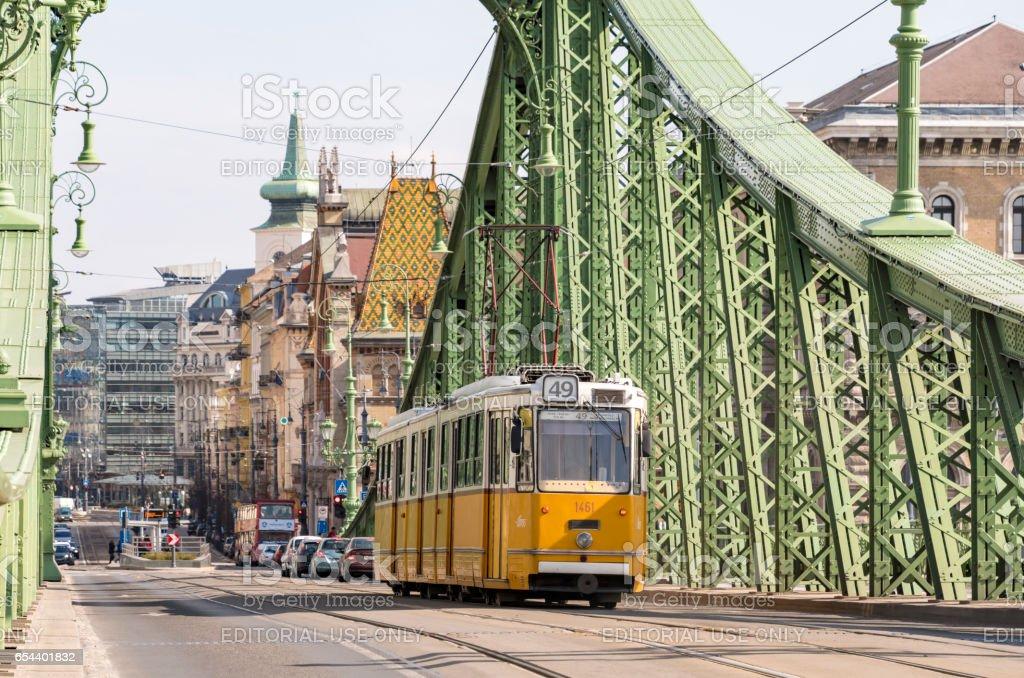 Tram on Danube Bridge in Budapest, Hungary stock photo
