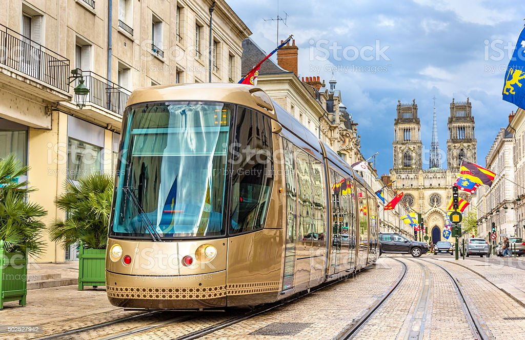 Tram on Jeanne d'Arc street in Orleans - France stock photo