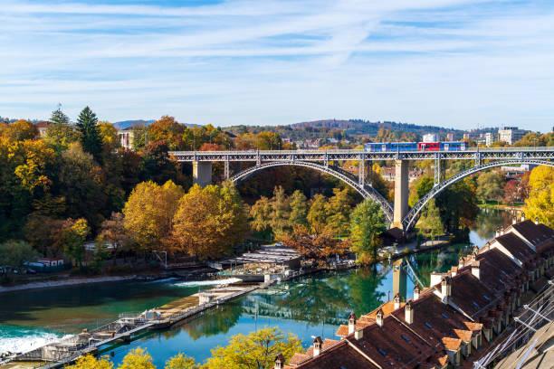 Tram on Kornhausbrucke, bridge over Aara river, Bern stock photo