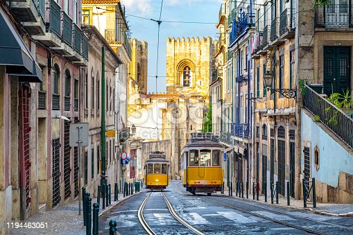 Historic tram on line 28, Lisbon, Portugal