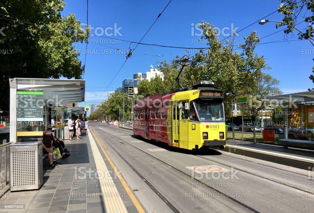 Tram on St Kilda Road - Melbourne stock photo