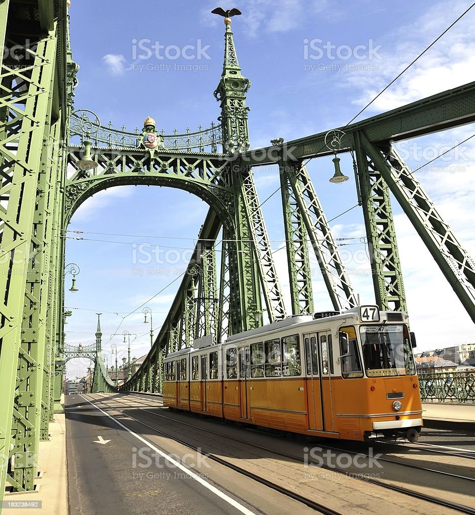 tram on the Liberty Bridge, Budapest, Hungary royalty-free stock photo
