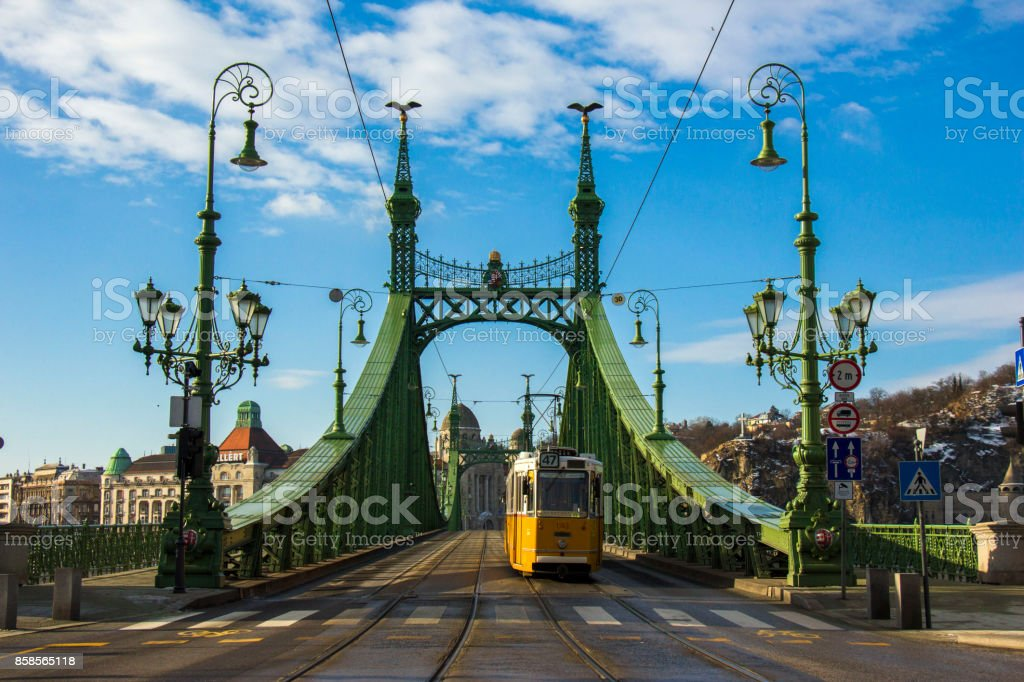 A tram on the Liberty Bridge, Budapest stock photo