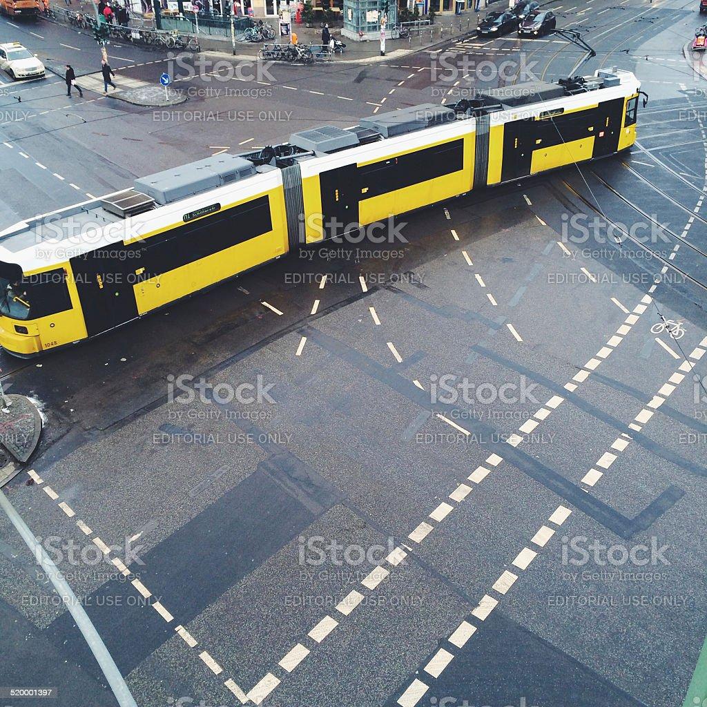 Tram on the street of Alexanderplatz royalty-free stock photo