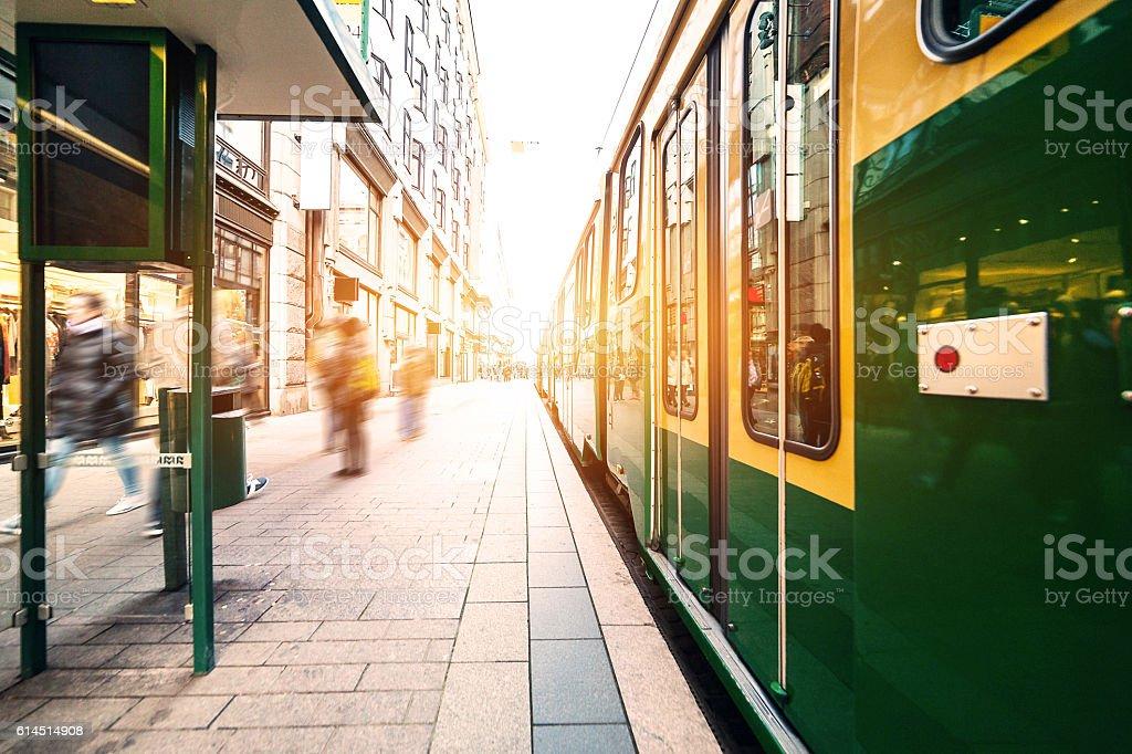 Tram on the street stock photo