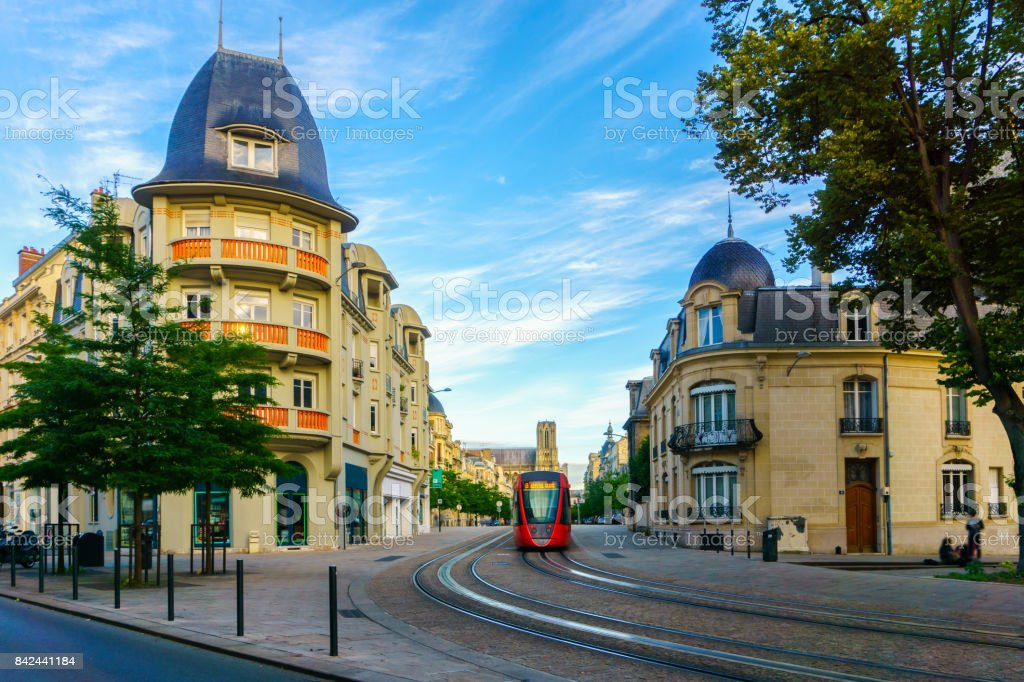 tram on the streets and architecture of reims a city in the