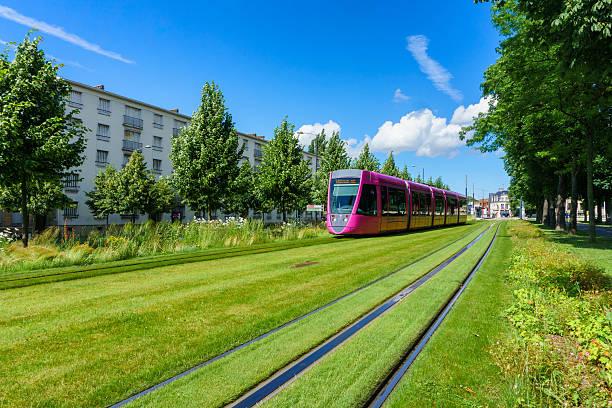 tram on the streets of reims, france - französisch übungen stock-fotos und bilder