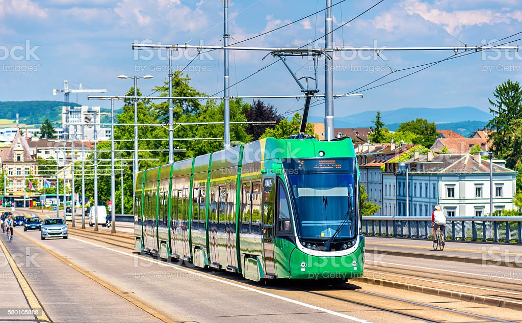 Tram on Wettstein Bridge in Basel stock photo